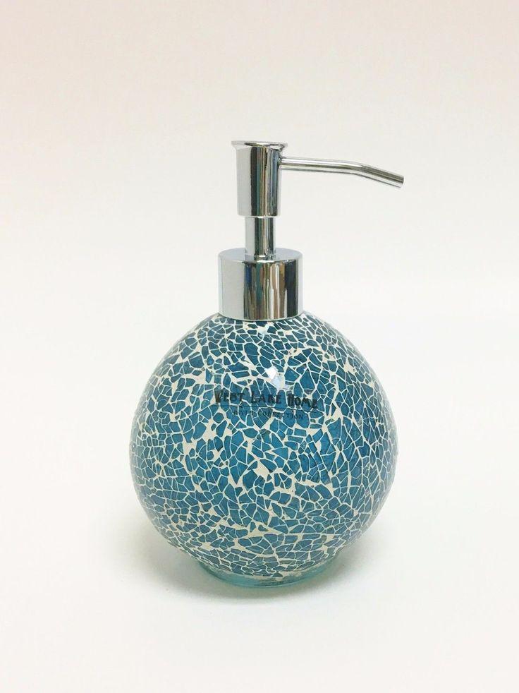 West Lake Teal Blue Green Glass Mosaic Sphere Bathroom Soap Dispenser