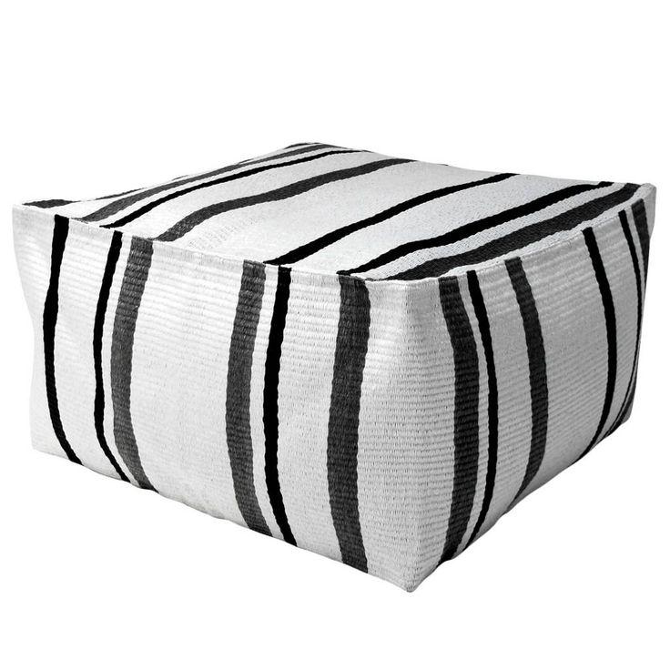 HK-living Poef Ottoman Lagune zwart/wit/grijs 80x80x45cm