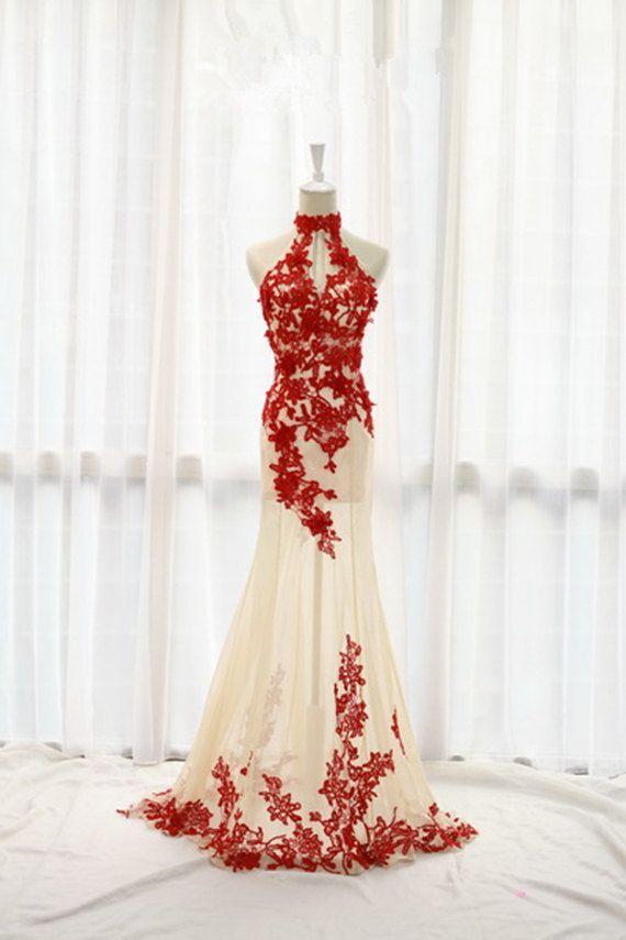 Lace Prom Dress,Mermaid Prom Dress,Halter Prom Dress,Fashion Prom Dress,Sexy Party Dress, New Style Evening Dress