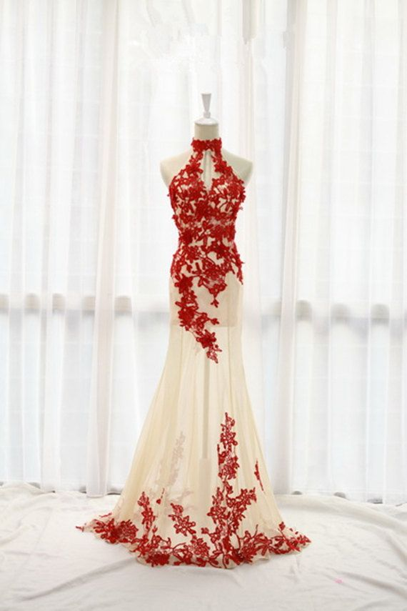 Lace Prom Dress,Sex Bridesmaid dress,Bridesmaid Dress ,Wedding Dress,Bridal Gown,Halter Bridesmaid dresses on Etsy, $169.00