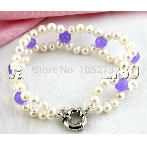 2Rows 8'inchs White Color Freshwater Pearl & Purple Jade Bracelet AA 5-10MM Fashion Style Women's Jewelry Free Shipping FN1930