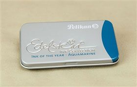 A box of 6 Pelikan Edelstein Aquamarine fountain pen ink cartridges. Pelikan Edelstein fountain pen ink cartridges are standard long international size, and will fit most fountain pens that accept international cartridges. Please note that they will not f