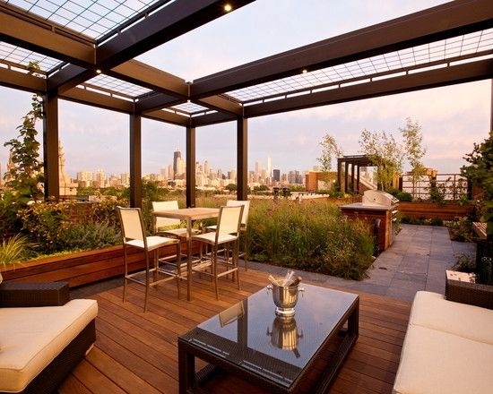 rooftop terrace ideas contemporary exterior pergola design dining lounge area