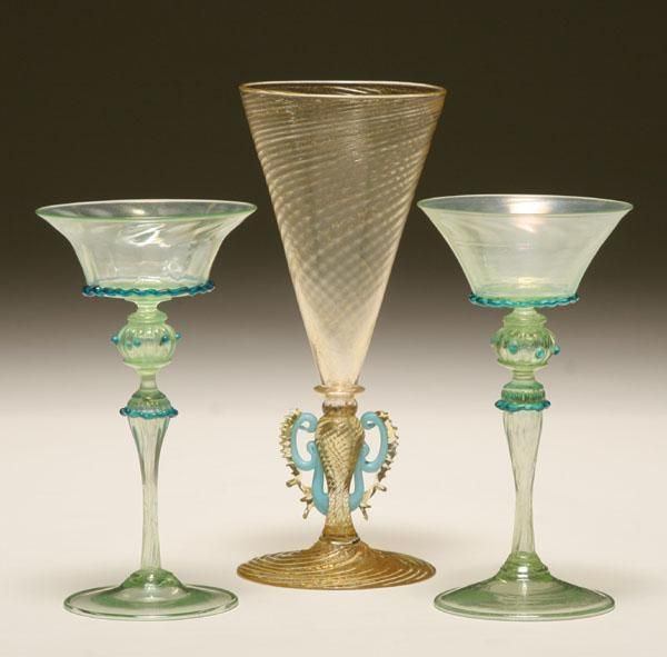 Salviati Murano glass, 3 pieces. Classical vase with rigaree applications and 2 green and blue goblets.