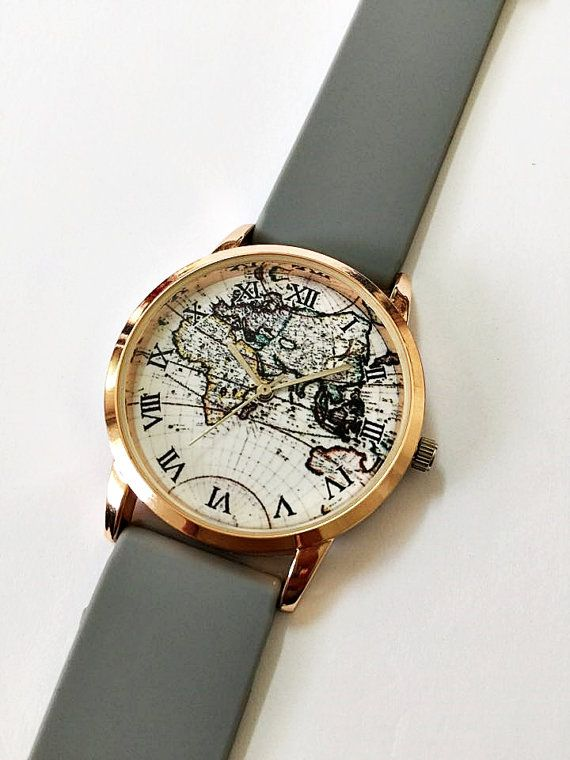 2016 World Map Watch by Freeforme , Women Watches, Mens Watch, Vintage Style Watch, Unique Watches, Boyfriend Watch, Unisex Watch, Rose Gold Watch, Silicone Watch Bands I also do custom or personalized watches , please contact me and Id be glad to make something special for you and your loved ones. Ships Worldwide Type: Quartz Adjustable from 16.5 cm to 21 cm (6.49 inches to 8.26inches) . Display: Analog Dial Window Material: Glass Case Material: Metal Case color : Rose Gold Case Diameter…