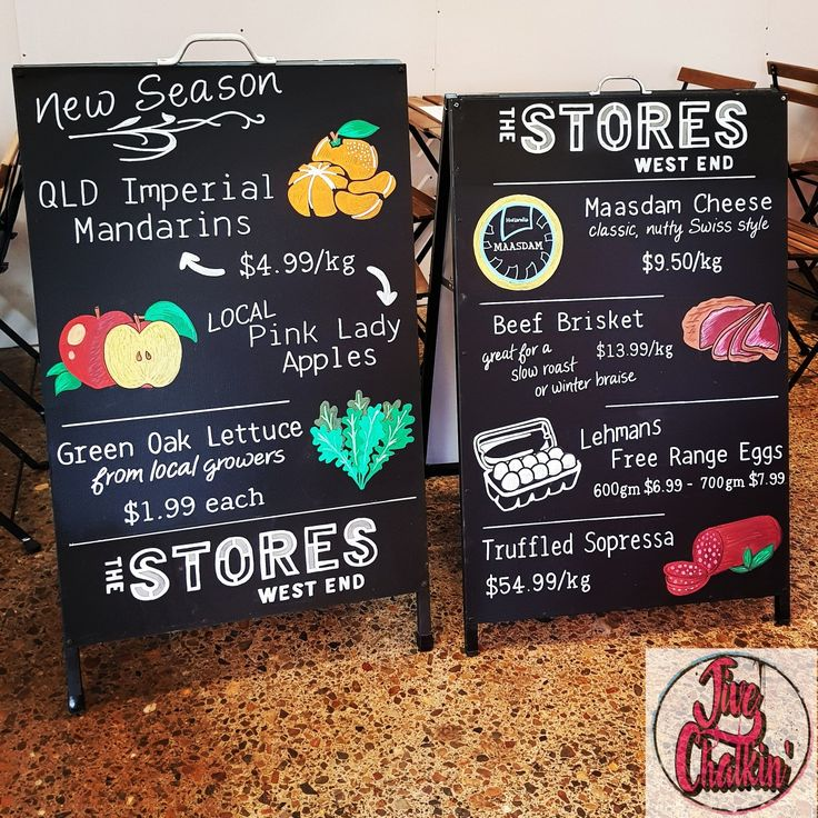 This month's chalkboard A-frames for The Stores West End. Plenty of bargains & top quality produce on offer.