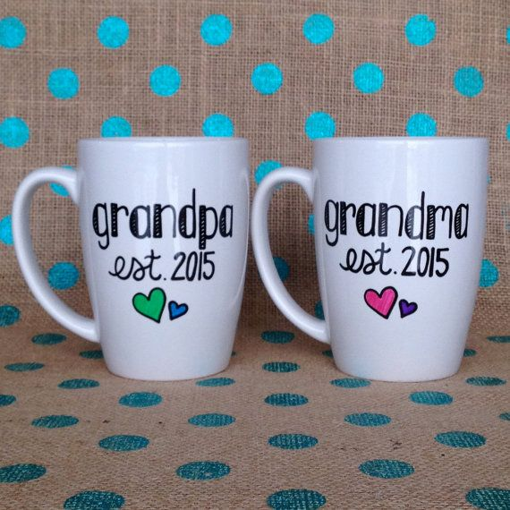 Grandparent Coffee Mug Set  Grandma and Grandpa by Hinzpirations