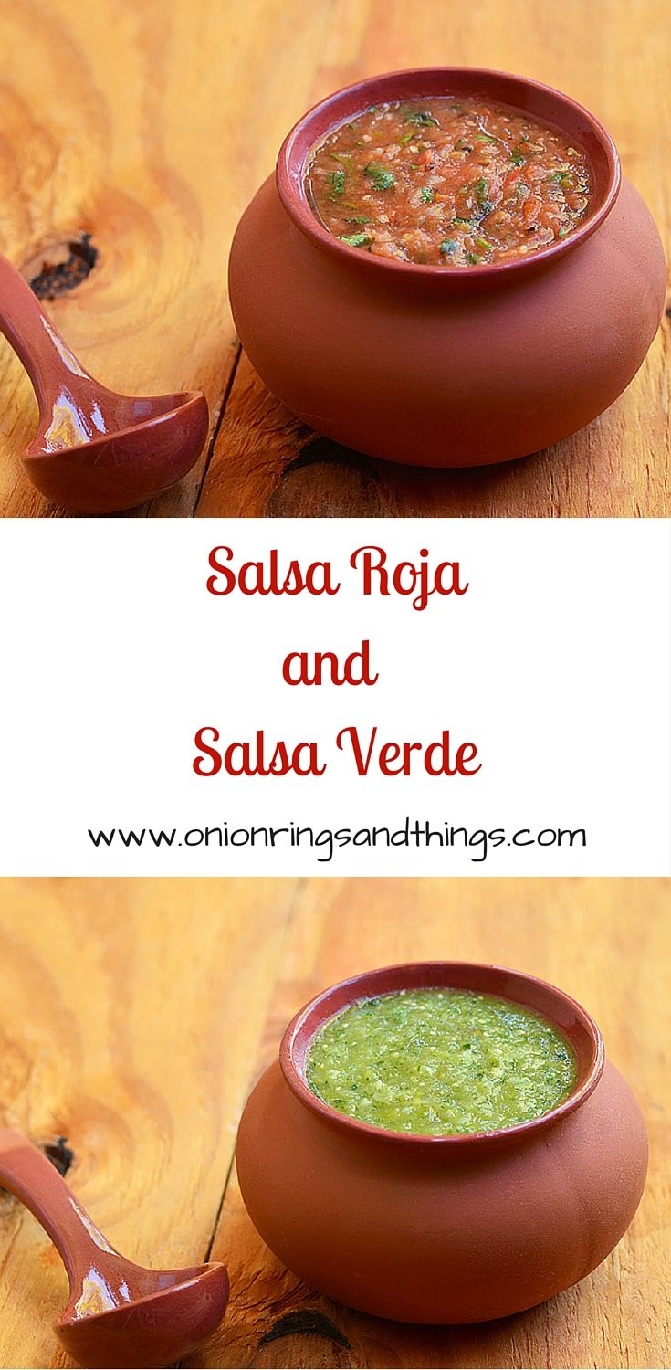 2 Salsas are the easiest and quickest way to a party! Try these salsa roja (made with roasted tomatoes) and salsa verde (tomatillos) for your next tailgate