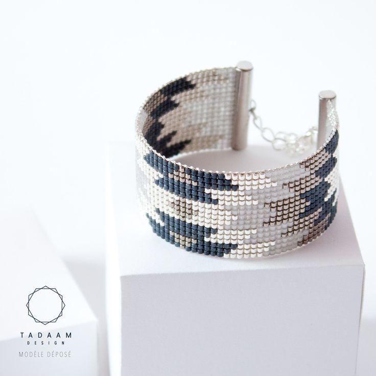 IDÉE CADEAU NOËL Bracelet tissé en perles miyuki / Perles argentées en plaquées Argent 925 / GRIS et ARGENT : Bracelet par tadaam-bijoux
