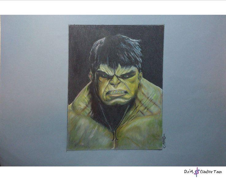 -THE INCREDIBLE HULK PORTRAIT -Colored pencils on canson paper / unframed -Measures: 35x50 cm https://www.etsy.com/listing/218311141/hulk-portrait-illustration-superhero