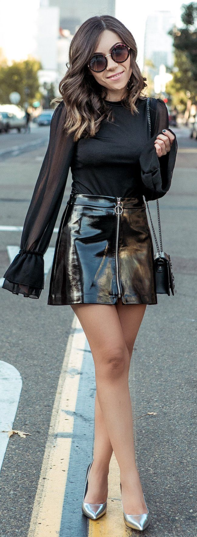 #winter #fashion /  Black Silk Top / Black Leather Skirt / Metallic Pumps