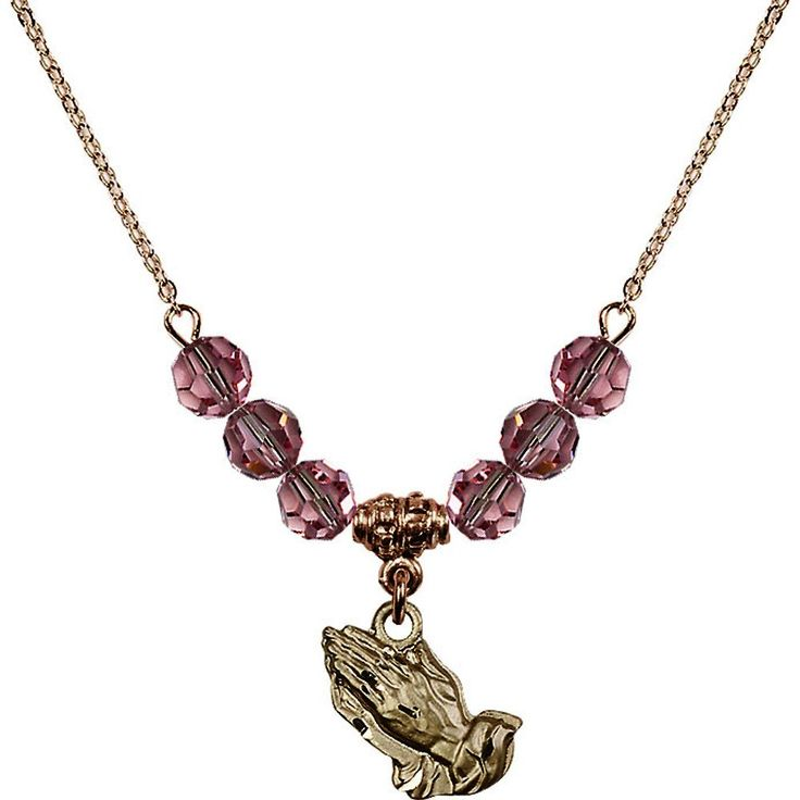18-Inch Hamilton Gold Plated Necklace with 6mm Light Rose Pink October Birth Month Stone Beads and Praying Hands Charm. 18-Inch Hamilton Gold Plated Necklace with 6mm Light Rose Birthstone Beads and Praying Hands Charm. Hand-Made in Rhode Island. Lifetime guarantee against tarnish and damage. Hamilton gold is a special alloy designed to have a rich and deep gold color.