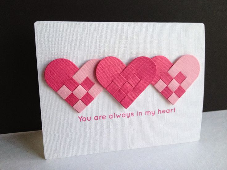 handmade Valentine cad from I'm in Haven: Danish Hearts ... clean and simple ... traditional Scandinavian woven hearts in bright pinks ... great card!