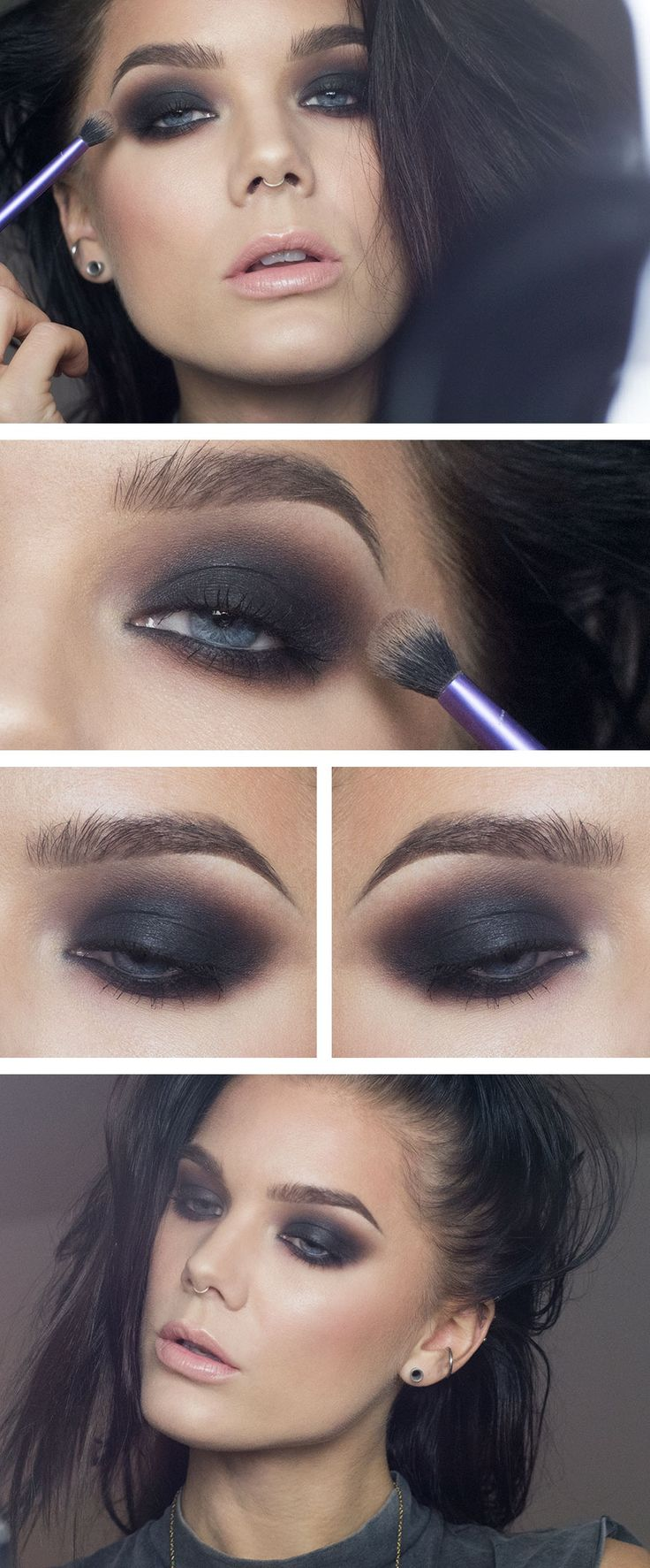 "Linda Hallberg makeup look - ""The Classic Smokey Eye"" - classic dramatic black smokey eye and light nude pink lips. Great makeup for a night out."