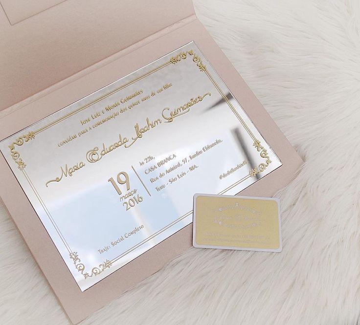 Convite de 15 anos  espelho e rosa quartz com dourado  mais info.: vendas2@scards.com.br