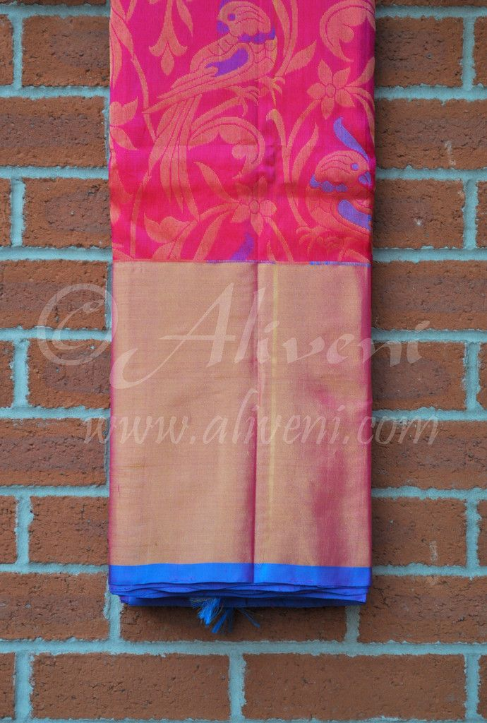 Pink Kuppadam Pure Pattu Saree with Parrots/Floral Pattern all over