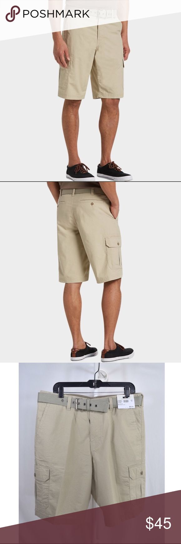 """NWT Men's Joseph Abboud Tan Cargo Shorts Joseph Abboud Men's Shorts🔸Tan🔸Size 36🔸Cargo pockets🔸Matching belt🔸98% cotton 2% lycra🔸Front and back pockets🔸Modern Fit🔸Machine washable🔸Brand new with tags🔸Inseam is 11""""🔸MSRP $69.99🔸Smoke and pet free home Joseph Abboud Shorts Cargo"""