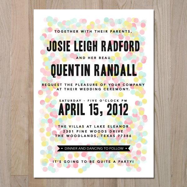 fun confetti invitation