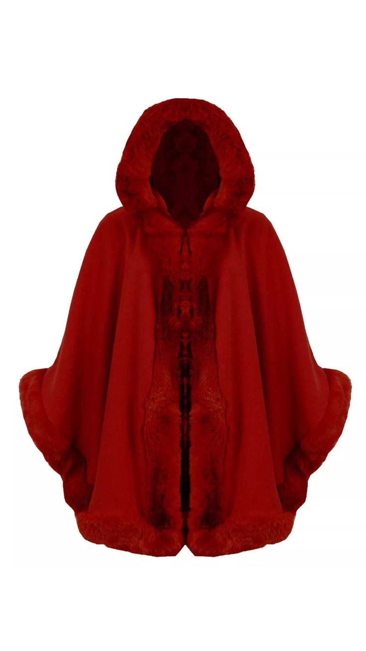 Red Fur Hooded Cape £40 Available On Our Website www.kandiclothesboutique.com