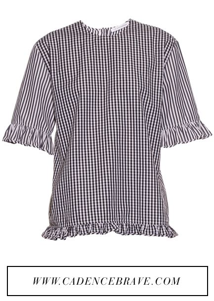 J.W.Anderson Gingham Ruffled Cotton Top: https://api.shopstyle.com/action/apiVisitRetailer?id=524038251&site=www.shopstyle.com.au&pid=uid3284-34523778-5