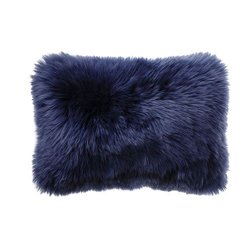 Sheepskin Indigo Long Cushion