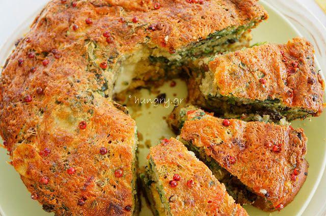 Αλμυρό Κέικ με Σπανάκι & Ρόκα