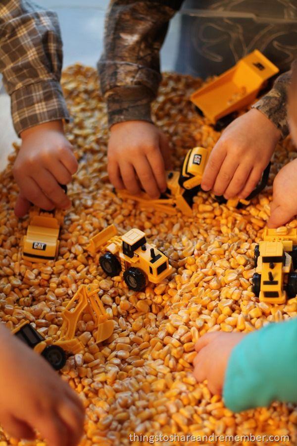 Construction worker sensory bin & other ideas