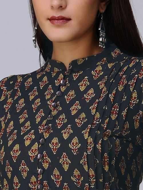 Taupe-Madder Ajrakh Cotton Kurta with Applique by Jaypore