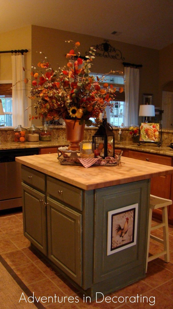 adventures in decorating love the picture on the side of the island fall kitchen decorin kitchenkitchen ideascountry - Fall Kitchen Decorating Ideas