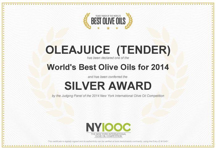 Silver Award winner  @ The 2014 New York International #OliveOil Competition #OleaJuice #OleaJuiceEVOO