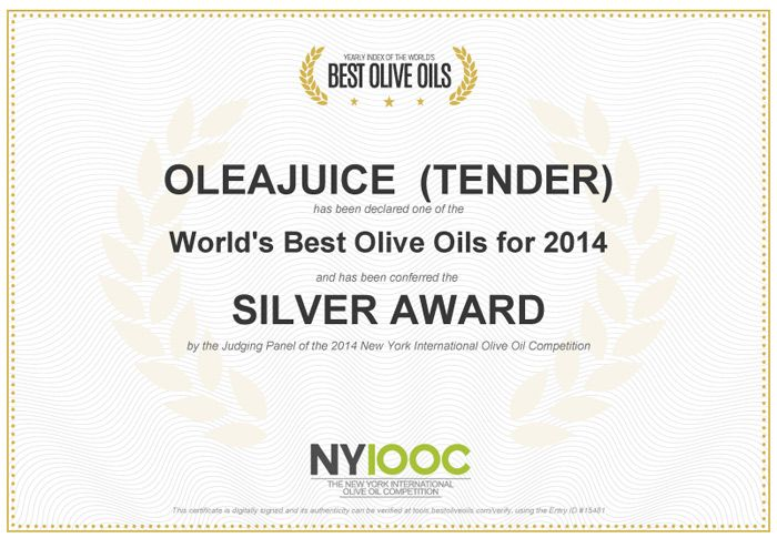 Silver Award winner  @ The 2014 New York International #OliveOil Competition #OleaJuice #OleaJuiceEVOO