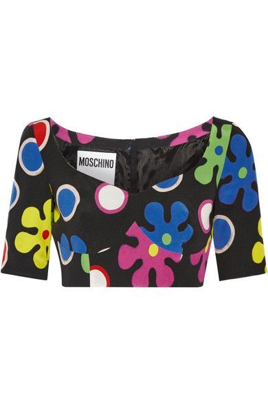 Moschino - Cropped Printed Silk Top - Black - IT38