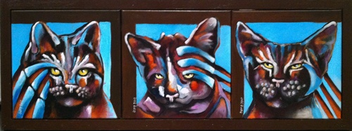 Ingeborg Leeftink; drie blauwe katten