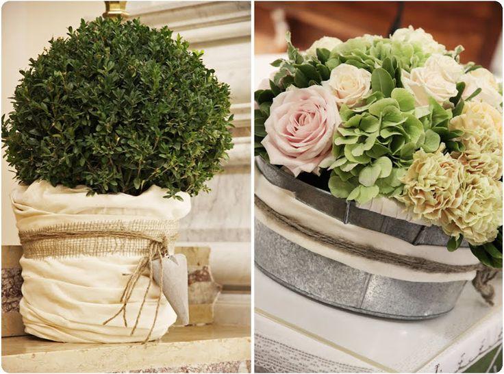"""""""L'altare maggiore non lo vorei con i fiori"""", mi ha detto al nostro incontro... Direi che una pianta a forma di bosso con base in cotone grezzo e cuore in legno è stata una scelta felice"""