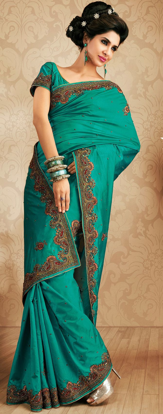 #SouthIndian Cyan Blue #Silk #Saree for Party Occasion