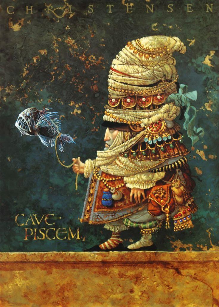 James C. Christensen, me recuerda a Giussepe Arcimboldo y a Hernán Valdovinos en este estilo más estático