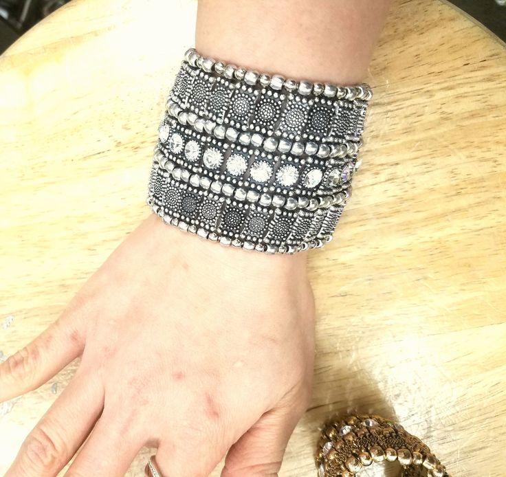 Fashion Jewelry, Trendy Jewelry, Inexpensive Jewelry, Jewelry, Bracelet, Stretch Bracelet, Boho Jewelry, Vintage Jewelry, Silver Bracelet, Antique Bracelet