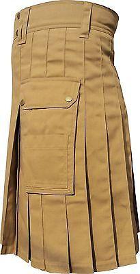 Scottish Highland Wears Active Men Modern Pocket KhakiLight Brown Cotton Kilts