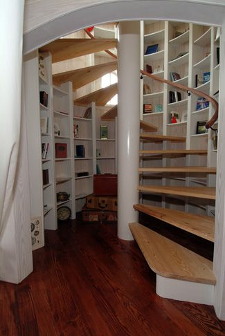 Spiral Staircase With Shelves. This Would Be Great For A Basement Stairway.