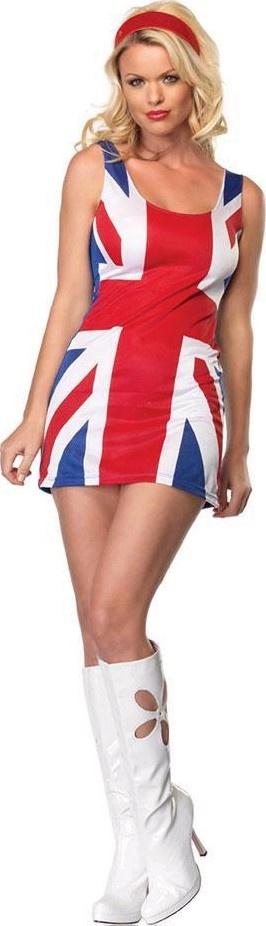NEW UNION JACK BRITISH 60S 90S GINGER SPICE GIRLS MINI ...  Ginger Spice British Dress