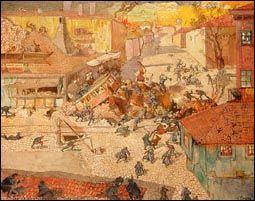 Oskar Laske, Barrikadenkampf in Belgrad am 9. Oktober 1915, 1917-18, Tempera auf Leinwand, 110 x 140 cm, Heeresgeschichtliches Museum, Wien.  © Heeresgeschichtliches Museum, Wien.