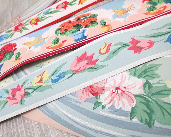 12 Feet Vintage Wallpaper Borders Wall Paper Border Lot Sample Vintage Wallpaper Wallpaper Border Wallpaper