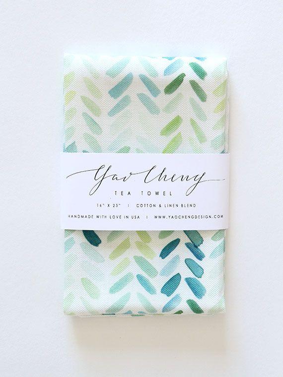 Blue and Green Herringbone Watercolor Tea Towel by YaoChengDesign, $28.00