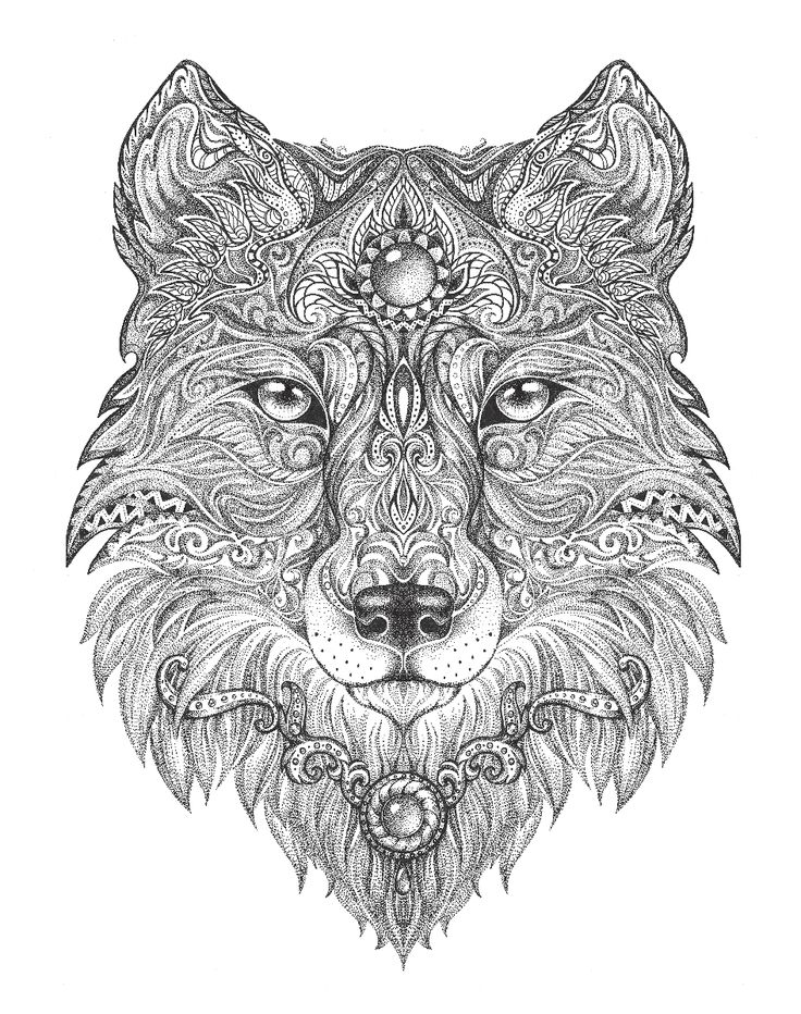 Wolf Adult Colouring Page In Sheets