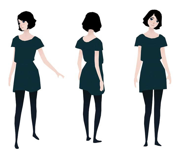 Dark hair and low poly girl