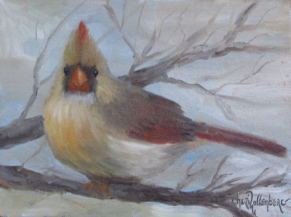 Bird Painting Female Cardinal Small 6x8 Canvas by ChatterBoxArt, $48.00