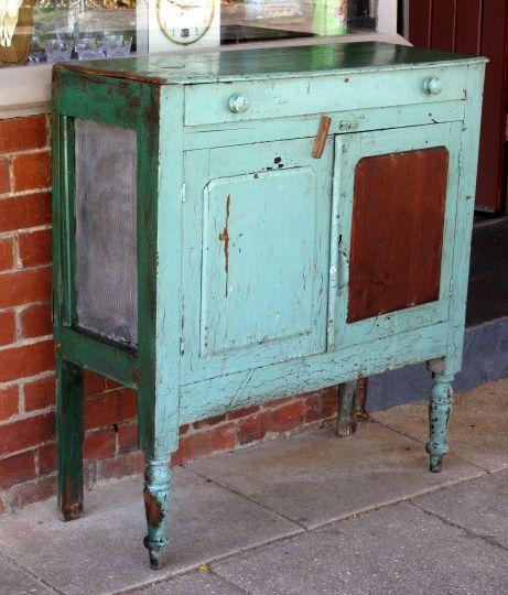 Vintage Rustic Meat Safe Dresser Cabinet Cupboard Depression Era Green
