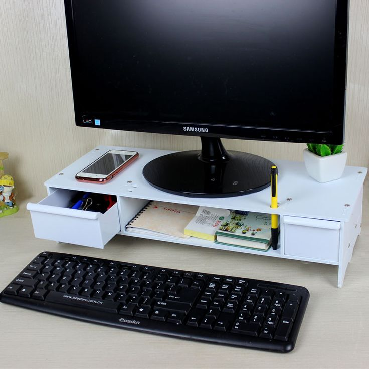 office desk storage. double drawers computer monitor increased desk base stand office desktop storage shelves