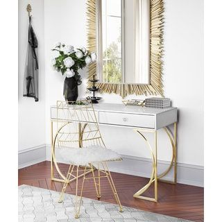 Shop for Lexie Grey Plastic Desk with Goldtone Finish Steel Base and more for everyday discount prices at Overstock.com - Your Online Furniture Store!