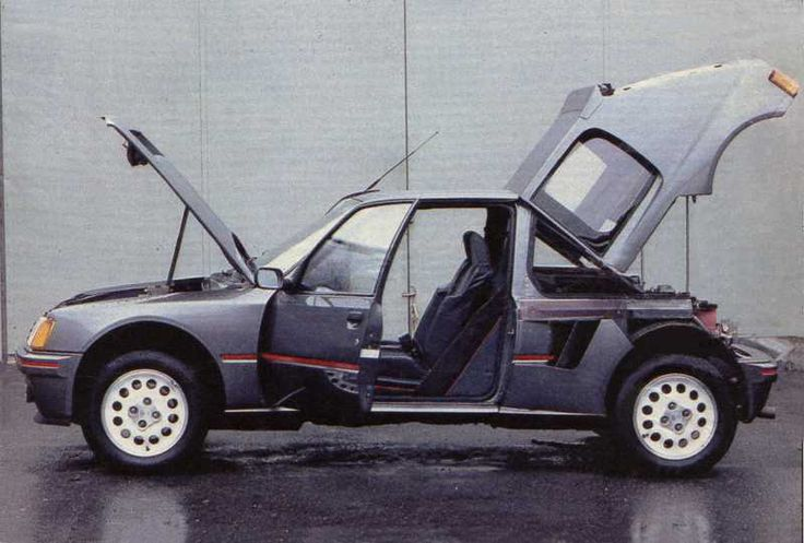 1984-86 Puegot 205 T16, Mid-engined, All-wheel-drive, 500hp rally car, Group B class, and road legal